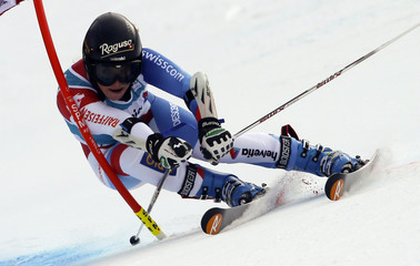 Gut of Switzerland clears a gate during the season's last giant slalom race at the women's Alpine Skiing World Cup finals in Lenzerheide