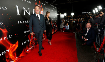 "Cast member Hanks and his wife Wilson attend a special screening of ""Inferno"" at Directors Guild of America in Los Angeles"