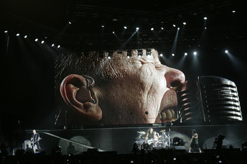 "Members of the heavy metal group ""Metallica"" perform at a concert in Lima"