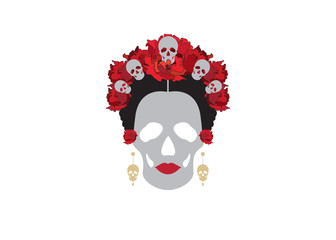 portrait of Mexican Catrina with skulls and red flowers , inspiration Santa Muerte in Mexico and la Calavera , vector illustration isolated
