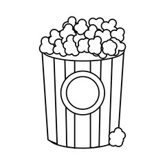 line popcorn food in the cinema movie eat, vector illustration