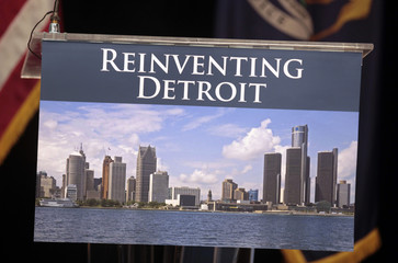 A image of the Detroit skyline is seen on the podium in Detroit