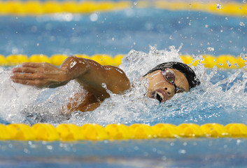 Shimizu competes in the women's 400m individual medley final swimming competition during the 17th Asian Games in Incheon