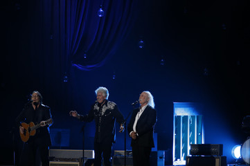 "Crosby, Stills and Nash perform ""Girl From the North Country"" at the 2015 MusiCares Person of the Year tribute honoring Bob Dylan in Los Angeles"