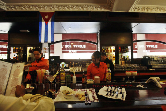 Staff work at the newly reopened Sloppy Joe's bar in Havana