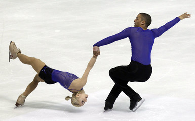 Savchenko and Szolkowy of Germany perform during the pairs short program at the European Figure Skating Championships in Zagreb