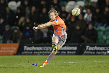 Joel Hodgson of Newcastle Falcons converts a try