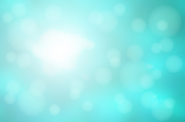 Turquoise green abstract with bokeh lights blurred background