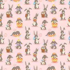 Happy adorable rabbit cartoon character cheerful mammal holiday bunny vector seamless pattern