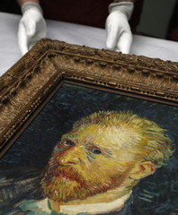 A self-portrait by artist Van Gogh is displayed for photographers at the Lady Lever Art Gallery in Port Sunlight, northern England