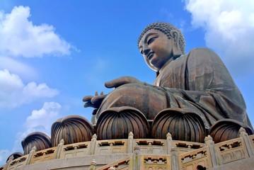 Tian Tan Buddha or Giant Buddha statue at Po Lin Monastery Ngong Ping, Lantau Island, Hong Kong, China isolated on white background