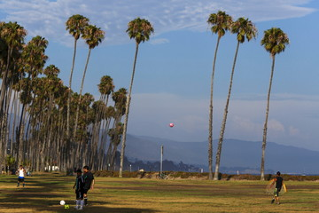 People play soccer by palm trees before sunset at Stearns Wharf in Santa Barbara, California