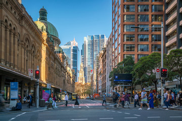 Street in downtown Sydney business area Wall mural