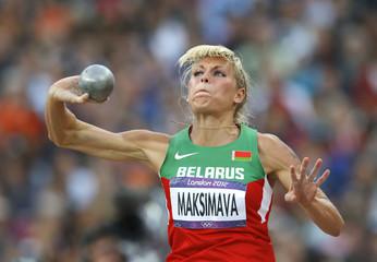 Belarus' Yana Maksimava competes in women's heptathlon shot put event at London 2012 Olympic Games