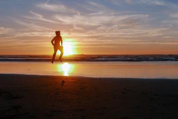 levitating Man On Beach Sunset