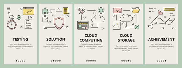 Vector thin line flat design cloud computing concept vertical banners