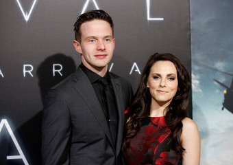 """Actor Mark O'Brien and wife actor Georgina Reilly pose at a premiere of the film """"Arrival"""" in Los Angeles"""