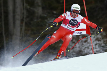 Fill of Italy clears a gate during the men's World Cup Downhill skiing race in Val Gardena