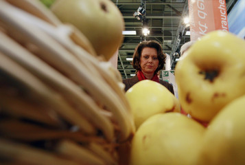 German Agriculture Minister Aigner looks at fruit and vegetables as she visits Internationale Gruene Woche IGW fair in Berlin