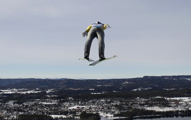 Austria's Morgenstern soars through the air during a trial jump for the Ski-Flying World Championships in Vikersund