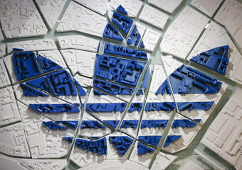 The Adidas logo on a 3D city map is pictured at the flagship store in Berlin