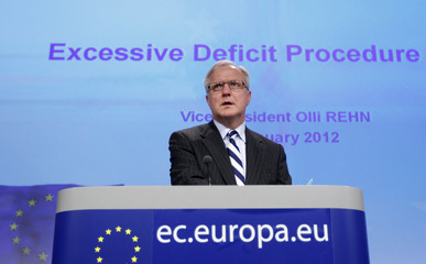 European Economic and Monetary Affairs Commissioner Olli Rehn addresses a news conference at the EU Commission headquarters in Brussels