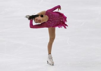 Mao Asada of Japan performs during the ladies' singles short program at the ISU Grand Prix of Figure Skating in Nagano, Japan