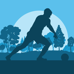 Soccer player man in field vector background landscape