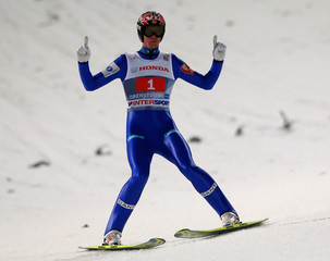 Bardal from Norway reacts after the first jump of the 62nd four-hills ski jumping tournament in Oberstdorf