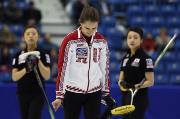 Russia skip Sidorova reacts to losing to South Korea in her page playoff game at the World Women's Curling Championships in Saint John