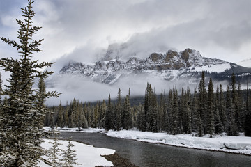 Castle Mountain Alberta in Winter