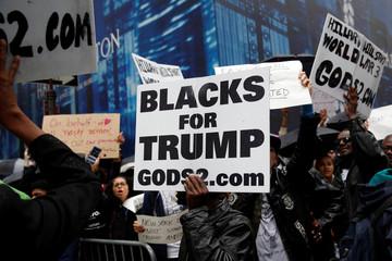 Demonstrators gather near Trump Tower in New York