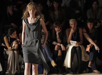 Model presents a creation by fashion designer Nuno Baltazar at Lisbon Fashion