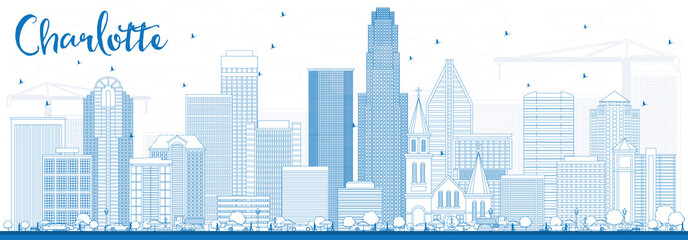 Outline Charlotte Skyline with Blue Buildings.