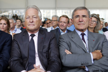 French CGPME President  Roubaud and Mestrallet, Chairman and CEO of GDF Suez attend the MEDEF summer forum in Jouy-en-Josas
