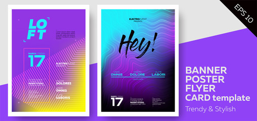 Electronic Music Covers for Summer Fest or Club Party Flyer. Colorful Waves Gradient Background. Template for DJ Poster, Web Banner, Pop-Up.