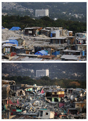 Combo shows the damaged Fort National neighborhood after the earthquake in Port-au-Prince