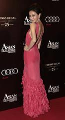 Hong Kong model Marie Zhuge Ziqi arrives for the Asian Film Awards in Hong Kong