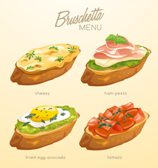 Set of Bruschetta : Delicious Italian appetizer : Vector Illustration