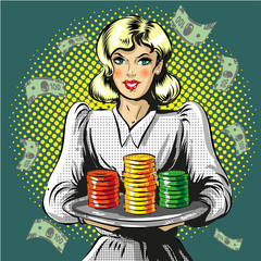 Vector pop art illustration of woman with gambling chips