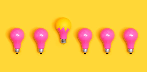 Colored light bulbs aligned