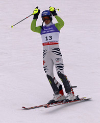 Neureuther of Germany reacts after he dropped out of the men's slalom race at the Alpine Skiing World Championships in Garmisch-Partenkirchen