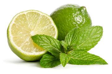Juicy lime with mint leaves