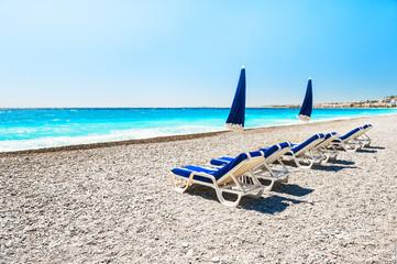 Foto op Canvas Nice Beautiful beach in Nice, France.