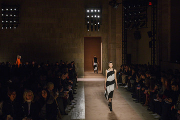 A model presents a creation from the Victoria Beckham Fall/Winter 2015 collection during New York Fashion Week