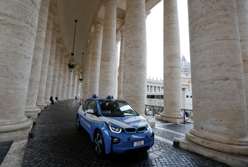 Italian police patrols St. Peter's Square at the Vatican