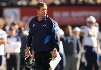 San Diego Chargers head coach Norv Turner coaches his team against the Oakland Raiders during their NFL football game in Oakland