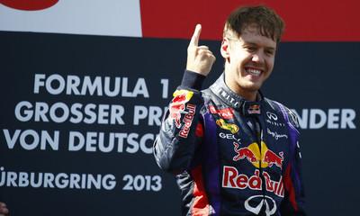 Red Bull Formula One driver Vettel celebrates winning German F1 Grand Prix at Nuerburgring