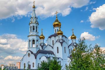 Beautiful Orthodox church against blue sky