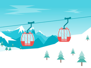 Poster Turquoise Cartoon Car Cabins Cableway in Mountains. Vector